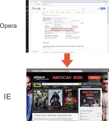 Skjermbilde for Open in IE™