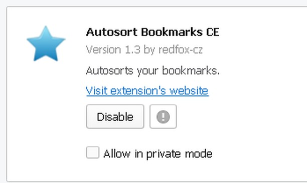 Skjermbilde for Autosort Bookmarks CE