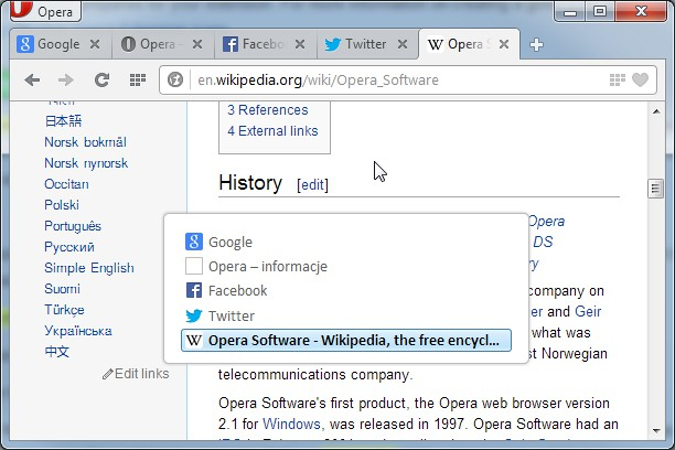 Opera 12-like tab switcher extension - Opera add-ons