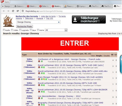 Search in The Pirate Bay extension - Opera add-ons