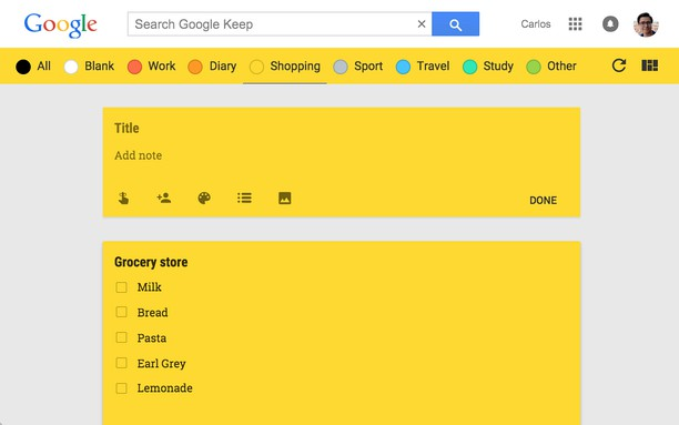 لقطة شاشة Category Tabs for Google Keep™