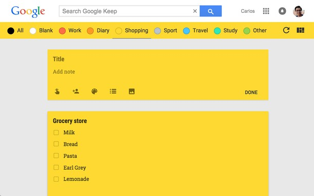 Aperçu de Category Tabs for Google Keep™
