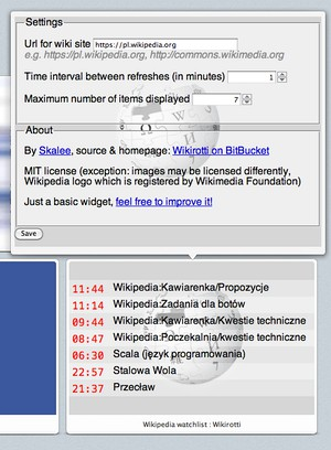 Screenshot for Wikipedia watchlist : Wikirotti