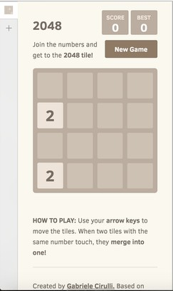 Screenshot for 2048 Sidebar