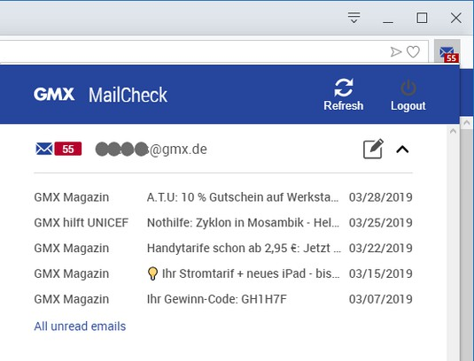 Screenshot for GMX MailCheck