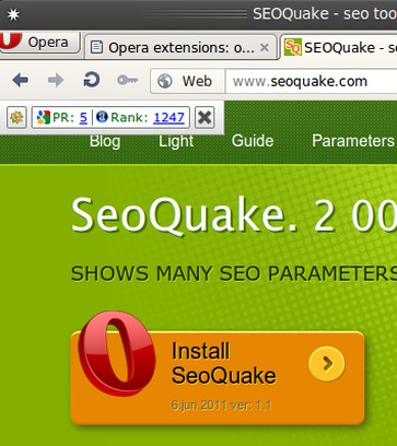 Skærmbillede for SeoQuake Lite extension
