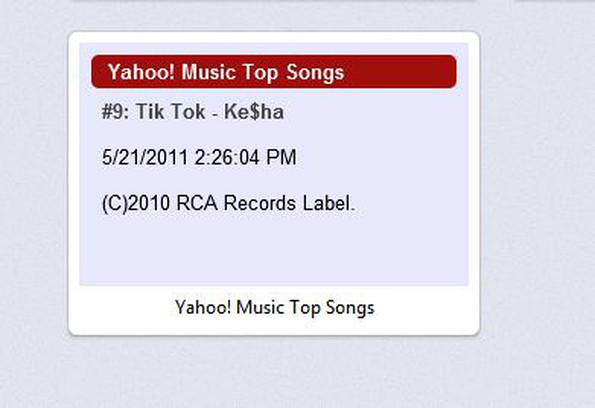 Captura de pantalla para Yahoo! Music Top Songs