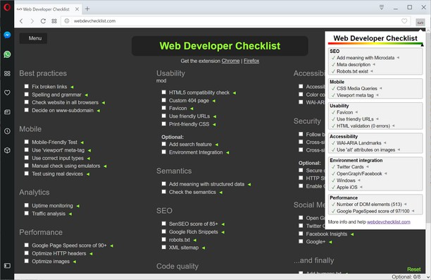 Captura de tela de Web Developer Checklist