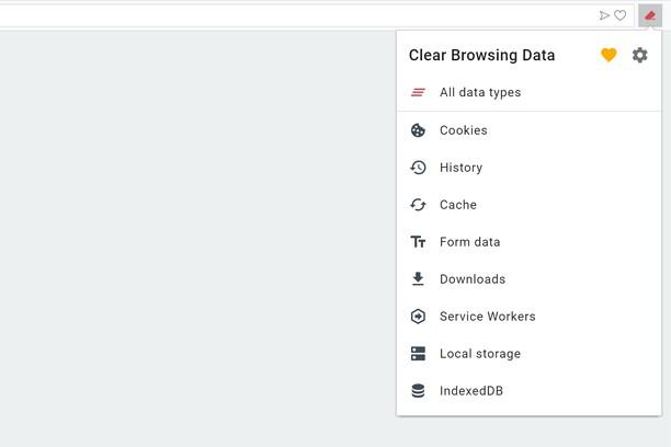 Знімок вікна Clear Browsing Data