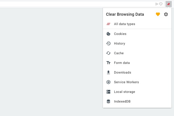 Clear Browsing Data 的螢幕截圖