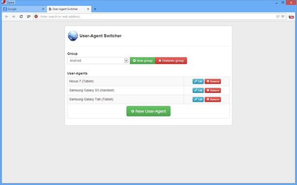 User-Agent Switcher extension - Opera add-ons