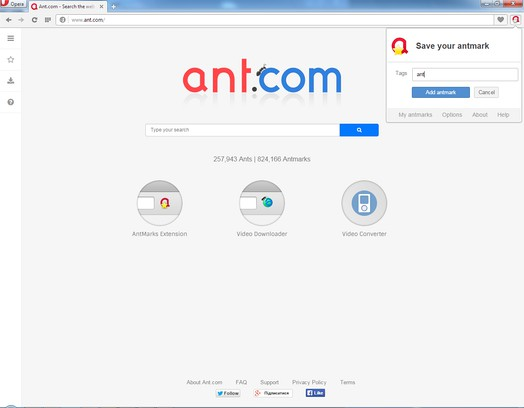 Знімок вікна Ant.com Antmarks Extension