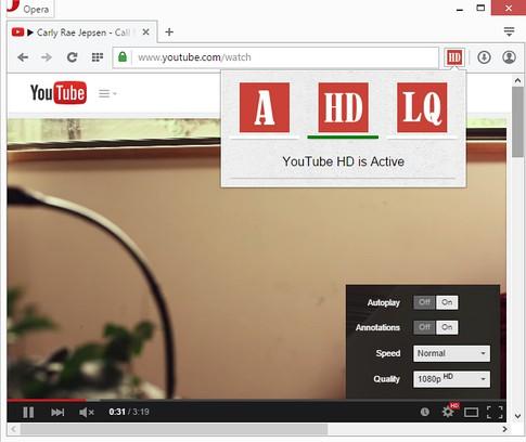 youtube auto hd lq extension opera add ons