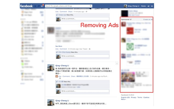QCLean:Remove Facebook Ad,Suggested Page&Post extension - Opera add-ons