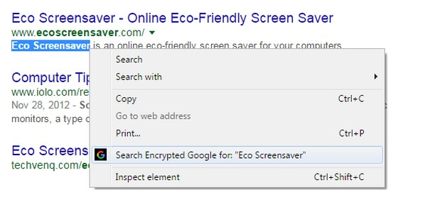 Screenshot di Search on Encrypted Google
