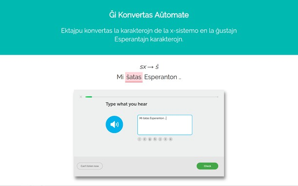Bildschirmfoto für Ektajpu: Esperanto Text Converter