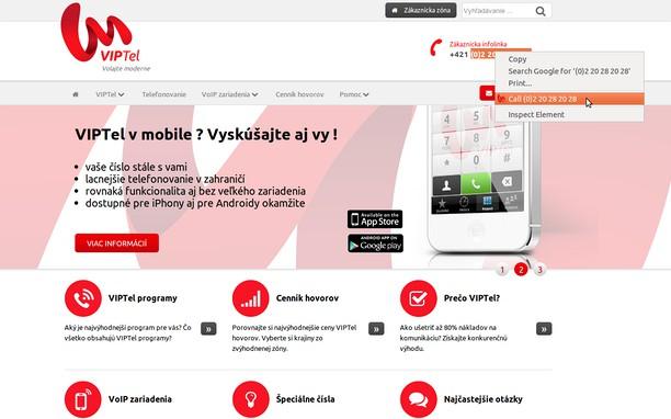 Skærmbillede for VIPTel Click