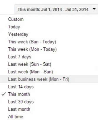 Здымак экрану для AdWords HotKeys (Date range)