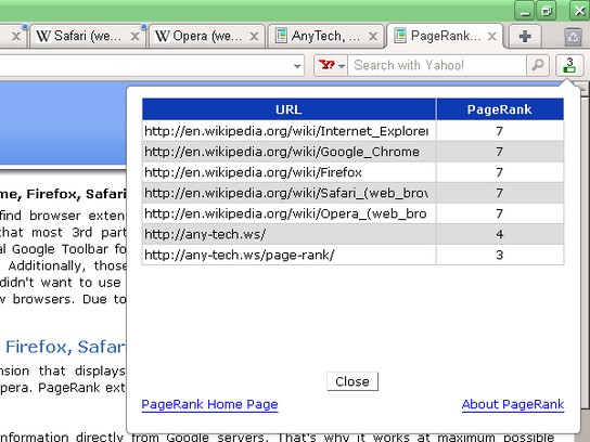 PageRank extension - Opera add-ons