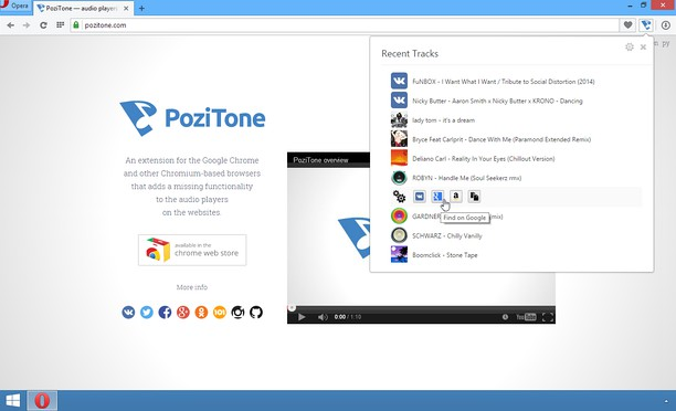 PoziTone extension - Opera add-ons