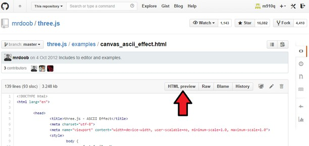 Screenshot di Github HTML Preview