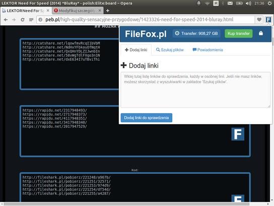 Copie d'écran pour FileFox