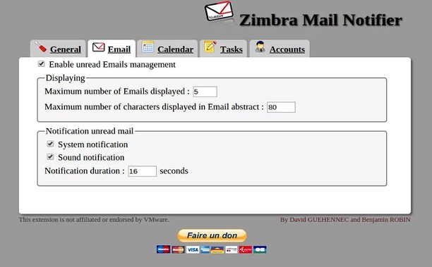Zimbra Mail Notifier extension - Opera add-ons