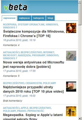 Знімок вікна vBeta Mobile