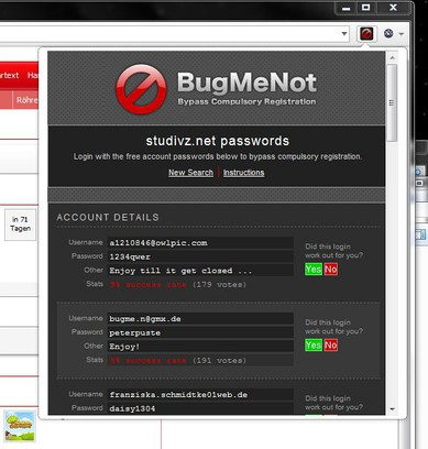 Screenshot for BugMeNot