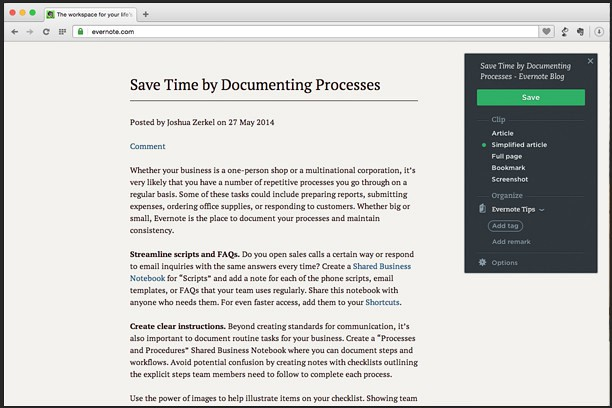Evernote Web Clipper extension - Opera add-ons