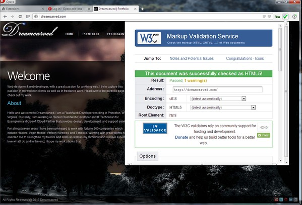 צילום מסך עבור W3C Markup Validation Service