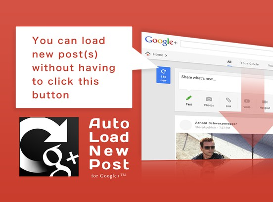 Zrzut ekranu pakietu Auto Load New Posts for Google+™