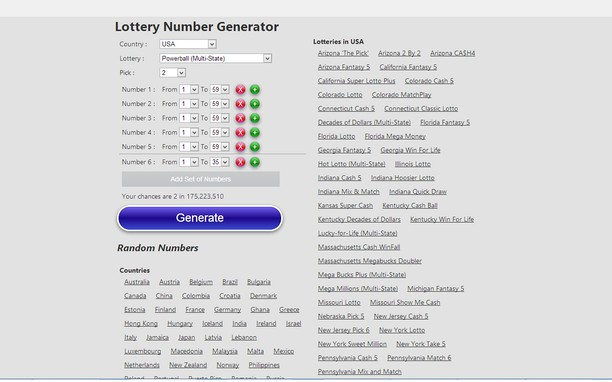 Lottery Number Generator extension - Opera add-ons
