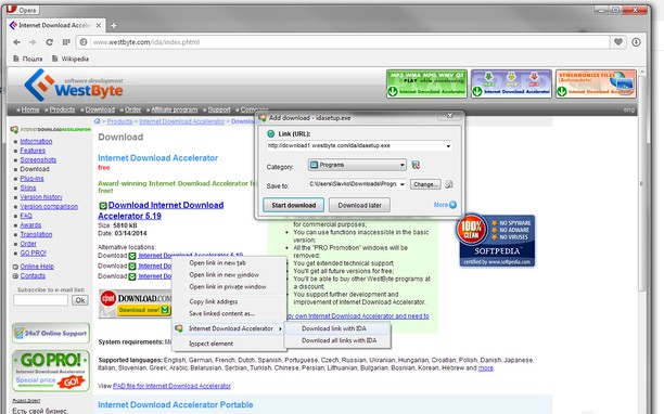 Captura de tela de Internet Download Accelerator