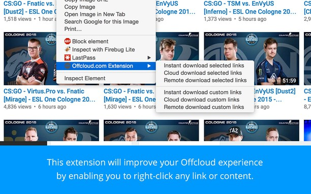 Offcloud.com Extension 的螢幕截圖