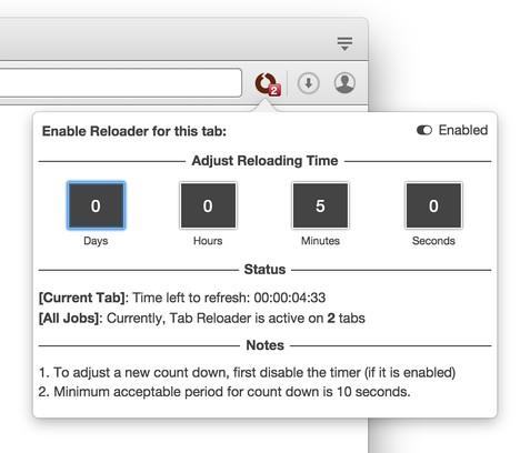 Снимок экрана для Tab Reloader