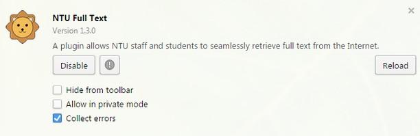 Bildschirmfoto für NTU Full Text