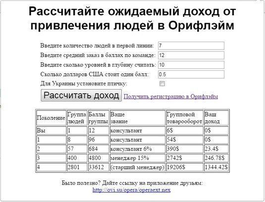 Screenshot for Просчёт дохода в МЛМ