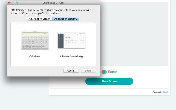 Snímek obrazovky pro SDesk Screen Sharing