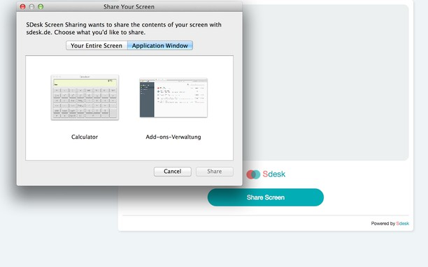 Snímka balíka SDesk Screen Sharing