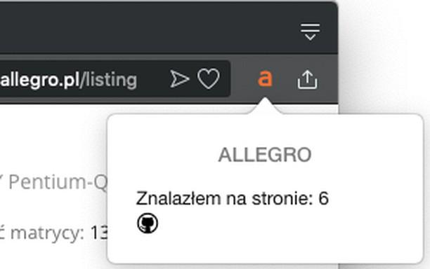 Здымак экрану для Allegro Poszukiwacz Niepromowanych