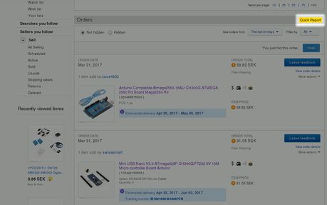 eBay purchase history report extension - Opera add-ons