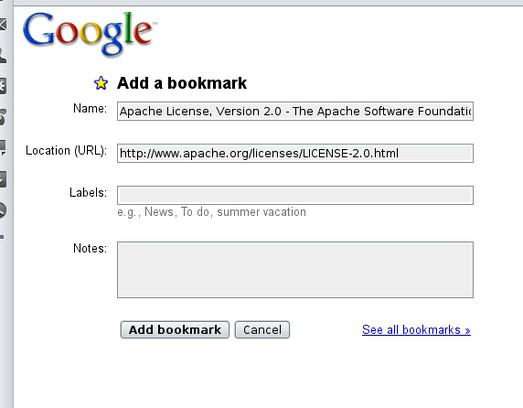 Screenshot for Add to Google bookmarks