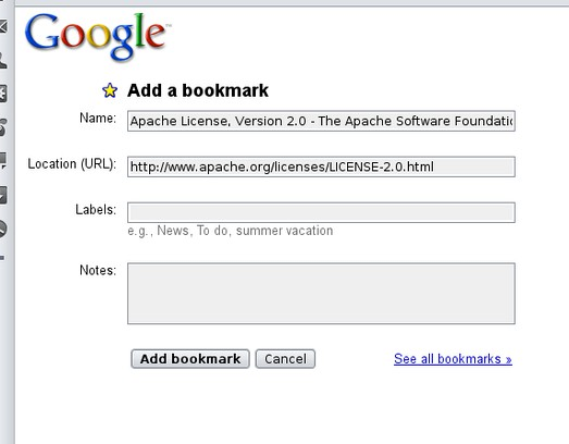Skærmbillede for Add to Google bookmarks