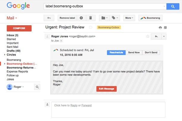 Boomerang for Gmail™ extension - Opera add-ons