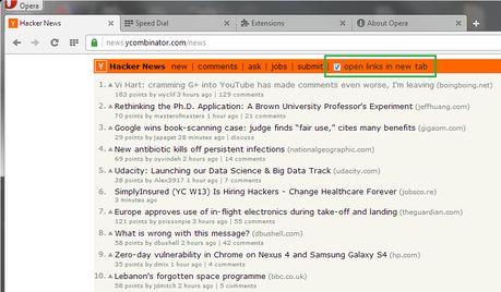 Hacker News - New Tab Links extension - Opera add-ons