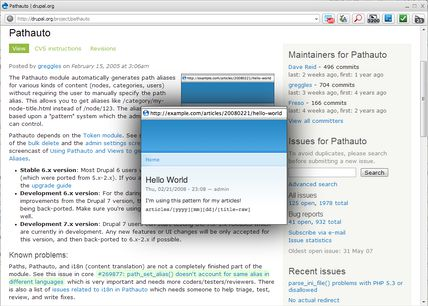 Drupal org screens popup extension - Opera add-ons