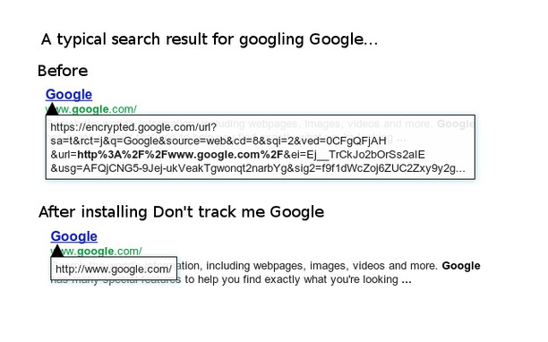 Skjermbilde for Don't track me Google