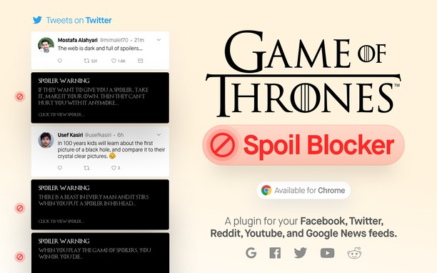 Знімок вікна Game Of thrones Spoil Blocker 2019