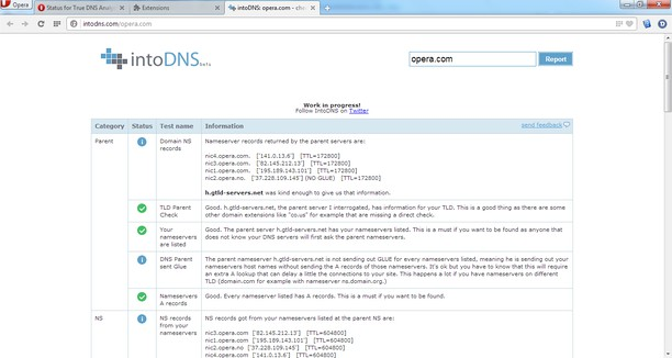 Screenshot for True DNS Analysis / intoDNS